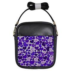 Sparkling Hearts Blue Girls Sling Bags