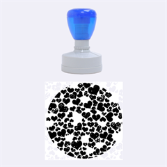 Sparkling Hearts Blue Rubber Round Stamps (medium)