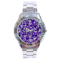 Sparkling Hearts Blue Stainless Steel Men s Watch