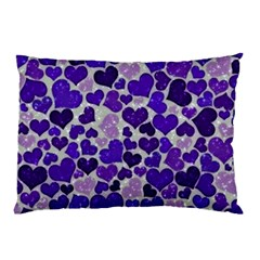Sparkling Hearts Blue Pillow Cases (two Sides)