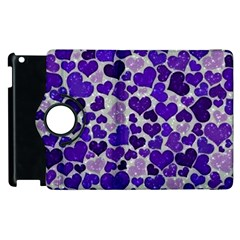 Sparkling Hearts Blue Apple iPad 3/4 Flip 360 Case