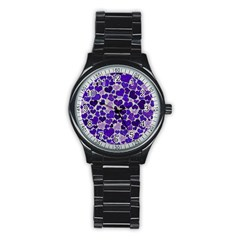 Sparkling Hearts Blue Stainless Steel Round Watches