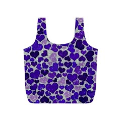 Sparkling Hearts Blue Full Print Recycle Bags (S)