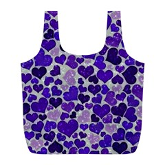 Sparkling Hearts Blue Full Print Recycle Bags (L)