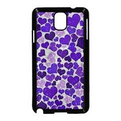 Sparkling Hearts Blue Samsung Galaxy Note 3 Neo Hardshell Case (Black)