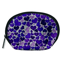 Sparkling Hearts Blue Accessory Pouches (Medium)