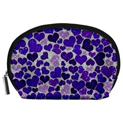 Sparkling Hearts Blue Accessory Pouches (Large)
