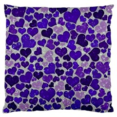 Sparkling Hearts Blue Large Flano Cushion Cases (One Side)