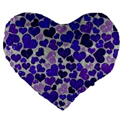 Sparkling Hearts Blue Large 19  Premium Flano Heart Shape Cushions