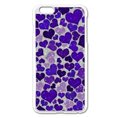 Sparkling Hearts Blue Apple iPhone 6 Plus Enamel White Case