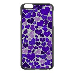 Sparkling Hearts Blue Apple iPhone 6 Plus Black Enamel Case