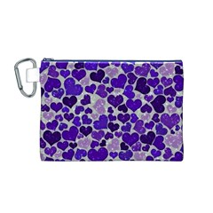 Sparkling Hearts Blue Canvas Cosmetic Bag (M)