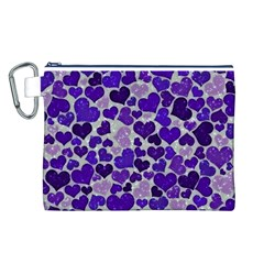 Sparkling Hearts Blue Canvas Cosmetic Bag (L)
