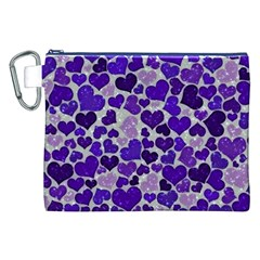 Sparkling Hearts Blue Canvas Cosmetic Bag (XXL)