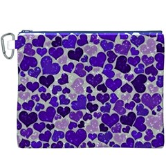 Sparkling Hearts Blue Canvas Cosmetic Bag (XXXL)