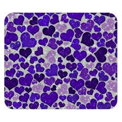 Sparkling Hearts Blue Double Sided Flano Blanket (Small)
