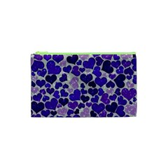 Sparkling Hearts Blue Cosmetic Bag (XS)