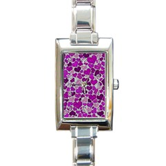 Sparkling Hearts Purple Rectangle Italian Charm Watches
