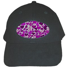 Sparkling Hearts Purple Black Cap