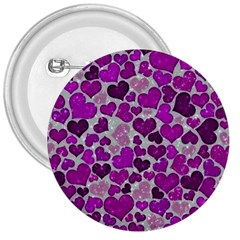 Sparkling Hearts Purple 3  Buttons