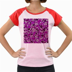Sparkling Hearts Purple Women s Cap Sleeve T-Shirt