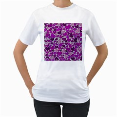 Sparkling Hearts Purple Women s T-Shirt (White) (Two Sided)