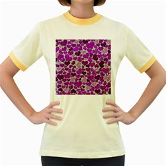 Sparkling Hearts Purple Women s Fitted Ringer T Shirts