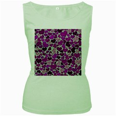 Sparkling Hearts Purple Women s Green Tank Tops
