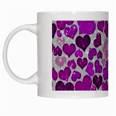 Sparkling Hearts Purple White Mugs