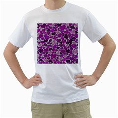 Sparkling Hearts Purple Men s T-Shirt (White) (Two Sided)