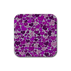 Sparkling Hearts Purple Rubber Square Coaster (4 pack)