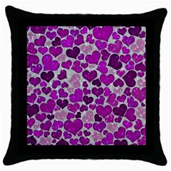 Sparkling Hearts Purple Throw Pillow Cases (Black)