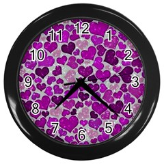 Sparkling Hearts Purple Wall Clocks (Black)