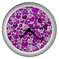 Sparkling Hearts Purple Wall Clocks (Silver)
