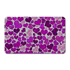 Sparkling Hearts Purple Magnet (Rectangular)
