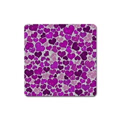 Sparkling Hearts Purple Square Magnet