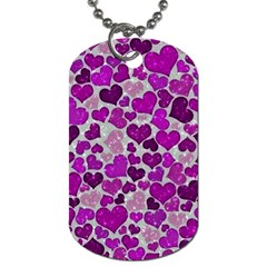 Sparkling Hearts Purple Dog Tag (One Side)