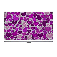 Sparkling Hearts Purple Business Card Holders