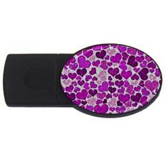 Sparkling Hearts Purple USB Flash Drive Oval (2 GB)