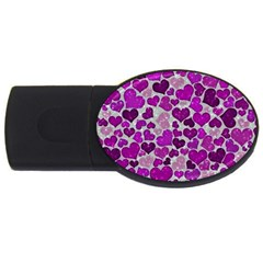 Sparkling Hearts Purple USB Flash Drive Oval (1 GB)