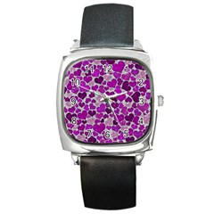 Sparkling Hearts Purple Square Metal Watches