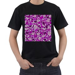 Sparkling Hearts Purple Men s T-Shirt (Black) (Two Sided)