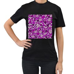 Sparkling Hearts Purple Women s T-Shirt (Black) (Two Sided)