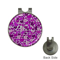Sparkling Hearts Purple Hat Clips with Golf Markers