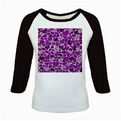 Sparkling Hearts Purple Kids Baseball Jerseys