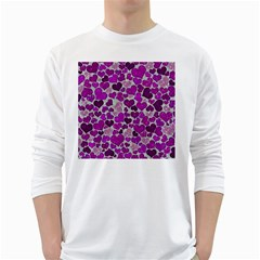 Sparkling Hearts Purple White Long Sleeve T-Shirts