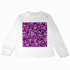 Sparkling Hearts Purple Kids Long Sleeve T-Shirts