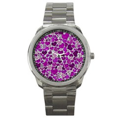 Sparkling Hearts Purple Sport Metal Watches