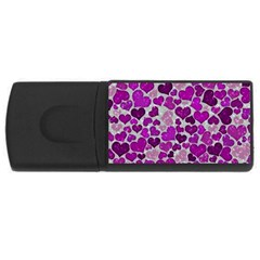 Sparkling Hearts Purple USB Flash Drive Rectangular (4 GB)