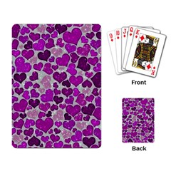 Sparkling Hearts Purple Playing Card